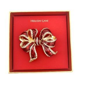 4/$25 Red Fancy Holiday Bow Enamel Lapel Pin NEW